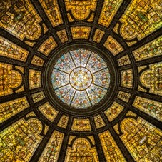 Healy and Millet stained glass dome at the Chicago Cultural Center