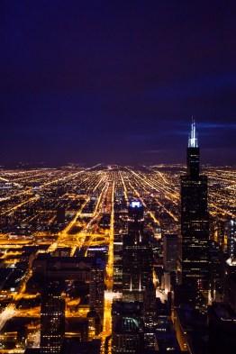 Chicago Sears Tower Night Aerial Photography