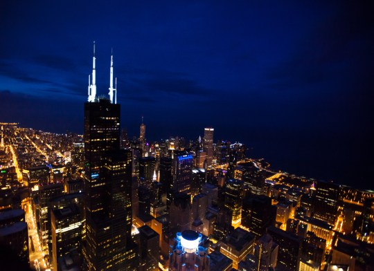 Chicago Sears Tower Aerial Night Photography