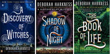 photographs of the US covers for the All Souls Trilogy by Deborah Harkness