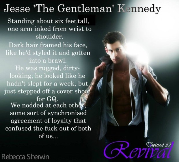 A photo teaser introducing Jesse Kennedy, a character in Revival, an erotic romance-suspense novel by author Rebecca Sherwin