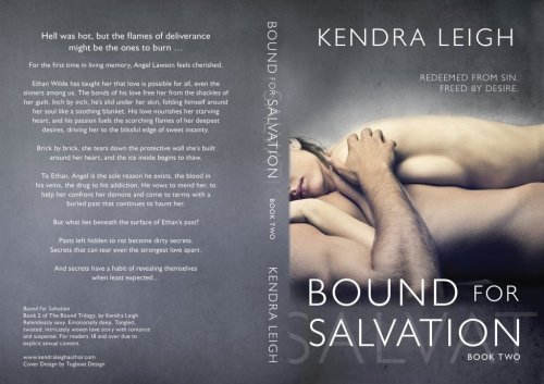 Full cover photo of Bound For Salvation, book 2 of the Bound Trilogy, an erotic suspense series by Kendra Leigh