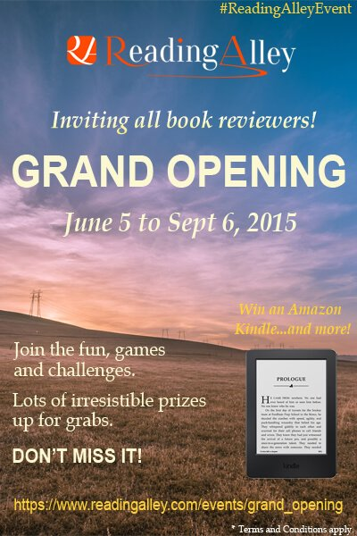 Poster announcing the Grand Opening of Reading Alley, a site for book reviewers