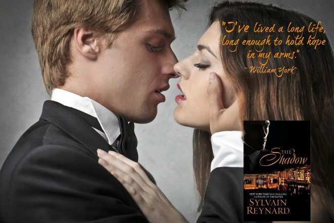 A photo and quote depicting a scene from The Shadow, by Sylvain Reynard