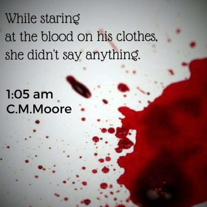 A photo of a blood stain with a quote from 1:05 AM by C. M. Moore