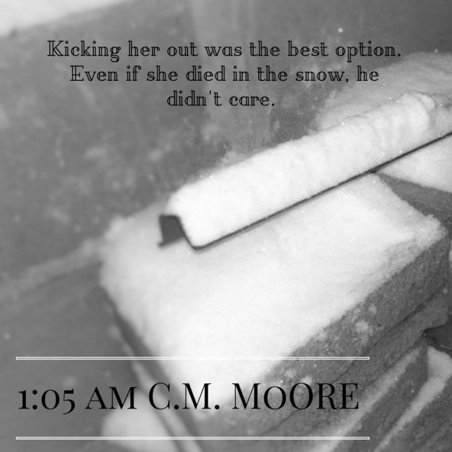 Photo of a snowy grave with a quote from 1:05 AM by C. M. Moore