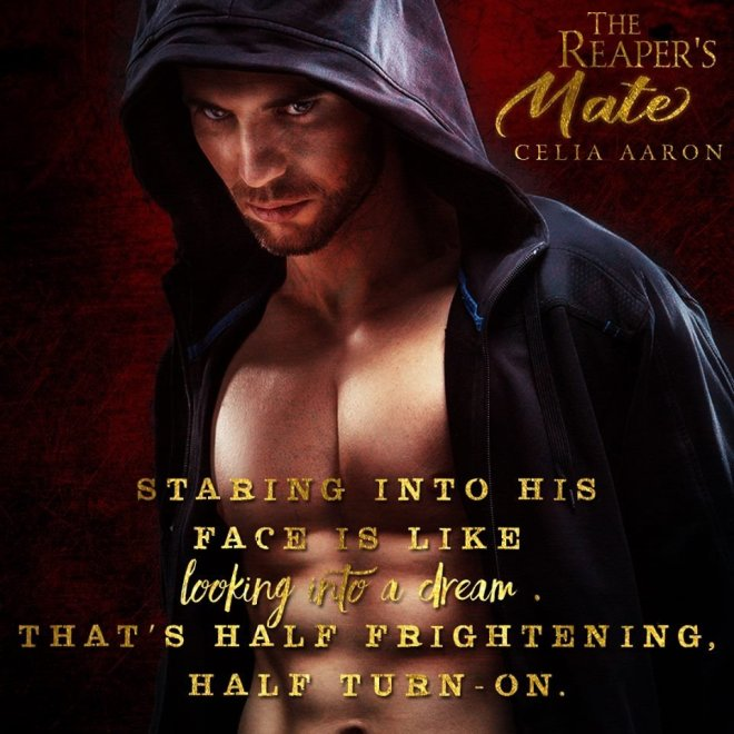 Photo of a shirtless man in a hoodie with a quote from The Reaper's Mate