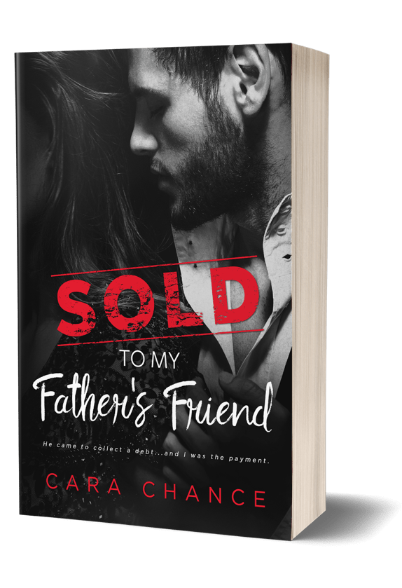 Book Cover, 3D View, of Sold To My Father's Friend, by Cara Chance