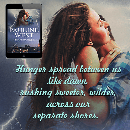 A photo of a couple embracing with a quote from Book 3 of the Candlemoth Series