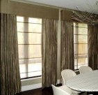 FL Silk curtains with upholstered pelmet and voile blinds (2)