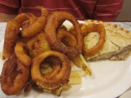 pork pie with french fries & onions at Red Arrow Diner
