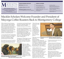Martin Mayorga, CEO of Mayorga Coffee Roasters - Macklin Business Institute, Montgomery College