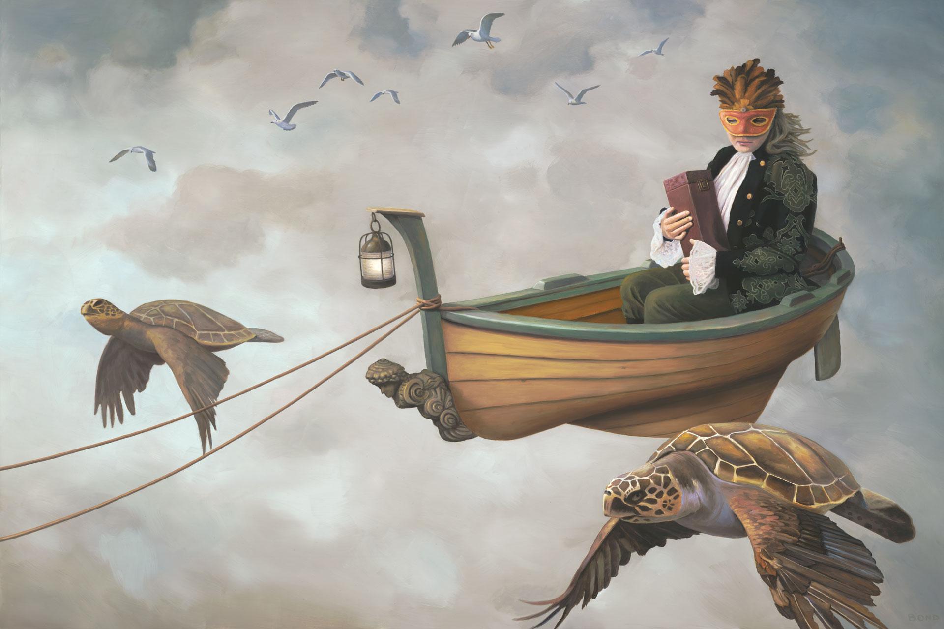Girl Falling Through The Air Wallpaper Flight Of The Muse Paul Bond Fine Art