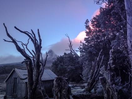 Old Waterfall Hut, dusk.