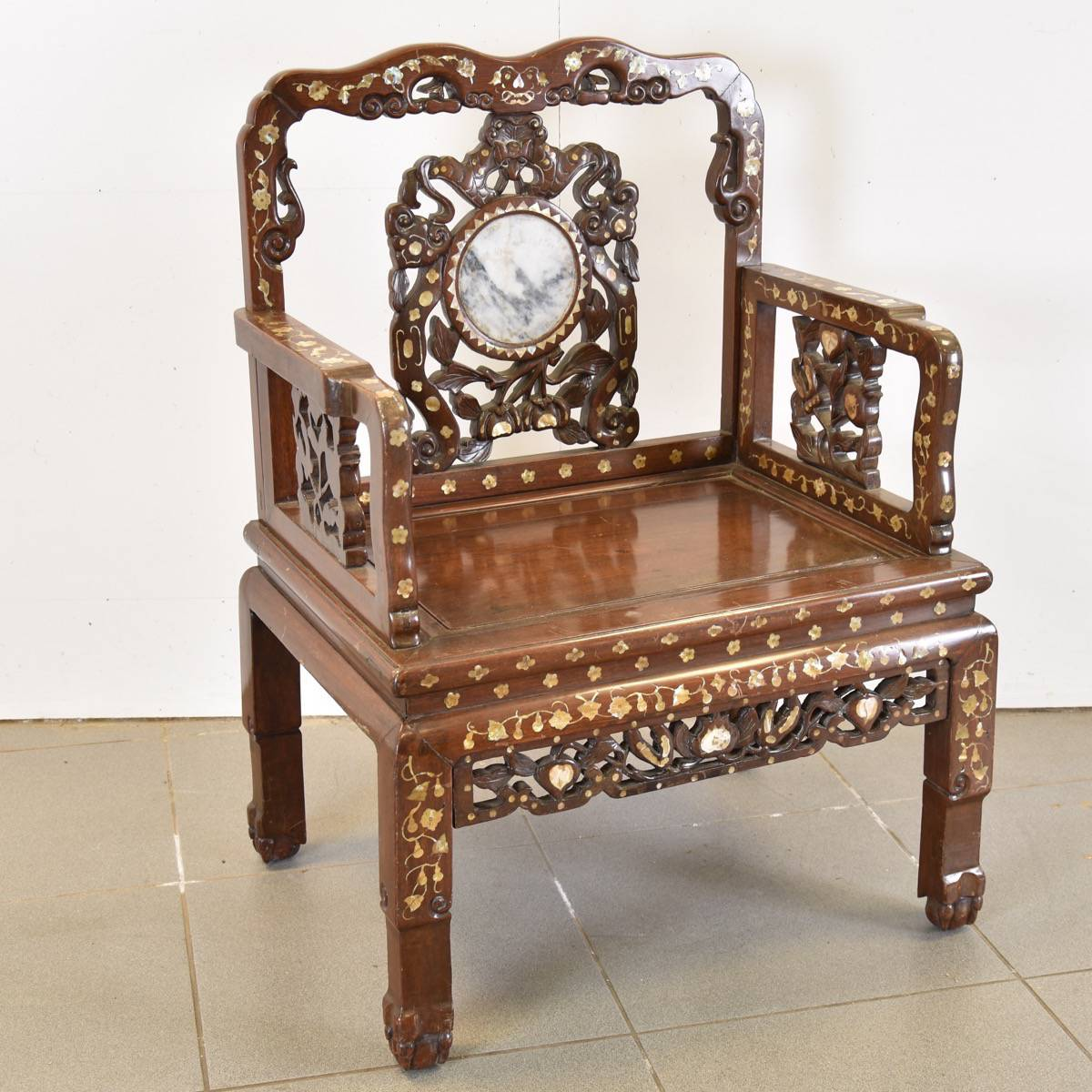 Chinese Chair Pair Of Inlaid Chinese Chairs With Marble Inset