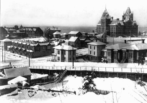 Snow of 1893 or 1896 looking west from First Hill