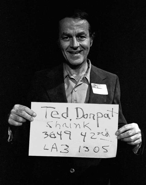 Ted Dorpat at his youngest brother Paul's 40th birthday in 1978, where all attending were photographed and required to hold signs with vital information