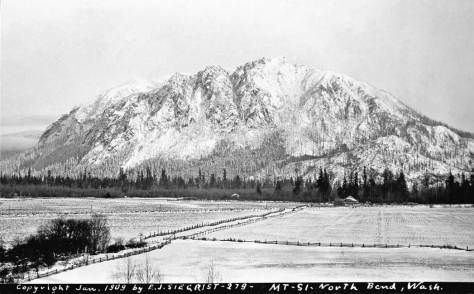 To represent a 1909 snow, and its picturesque side, we chose this view of Mt. Si photograph by eastside photographer E. J. Siegrist, also because he dated it
