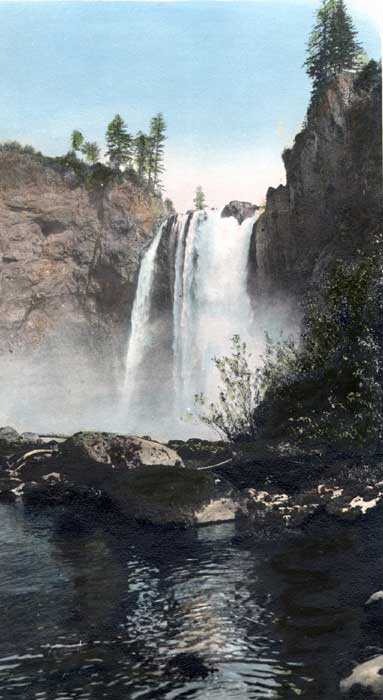 Hand-colored print of Snoqualmie Falls by Price.
