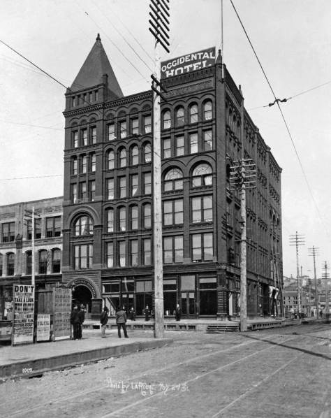 THEN: The Lebanon aka Jesse George building at Occidental and Main opened with the Occidental Hotel in 1891.  Subsequently the hotel's name was changed first to the Touraine and then to the Tourist.  The tower could be seen easily from the railroad stations.   It kept the name Tourist until replaced in 1960 with a parking lot.  (Courtesy Lawton Gowey)