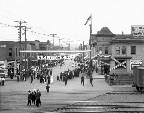 "THEN: Auburn's Main Street decorated for its Aug. 14, 1909,  ""Good Old Days"" celebration.  Photo courtesy of the White River Valley Museum."