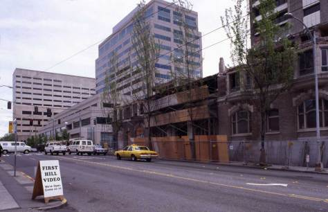Work-in-progress on razing the nearly 90 year-old hotel-hospital.  The original slide is date May, 1995.