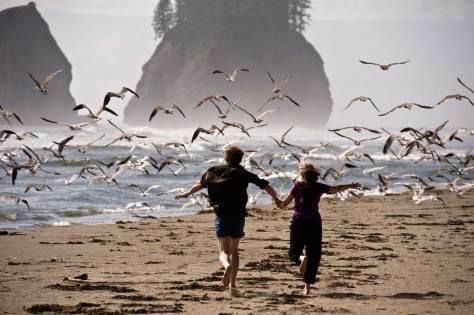 Kael & Anne with gulls
