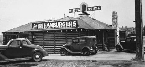 THEN: The Dog House at 714 Denny Way was strategically placed at the southern terminus for the Aurora Speedway when it was new in the mid-1930s. (Photo courtesy of Washington State Archive, Bellevue Community College Branch.)