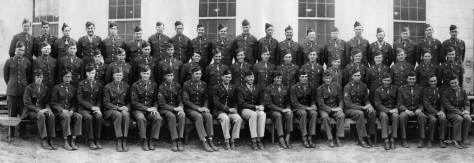 Rich Berner, second row third from left, posing for a group portrait of the U.S. Army's 10th Mountain Division at a Colorado camp during the Second World War.