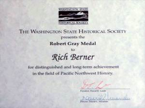 The Robert Gray Award from the Washington State Historical Society