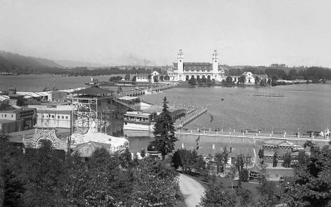 Then Caption:  Amateur photographer George Brown most likely took this view of Portland's 1905 Lewis and Clark Centennial Exposition from the north porch of the Washington State Building.  Brown also played clarinet in Wagner's popular concert and marching band, which was probably performing at the Expo.   (pic courtesy of Bill Greer)