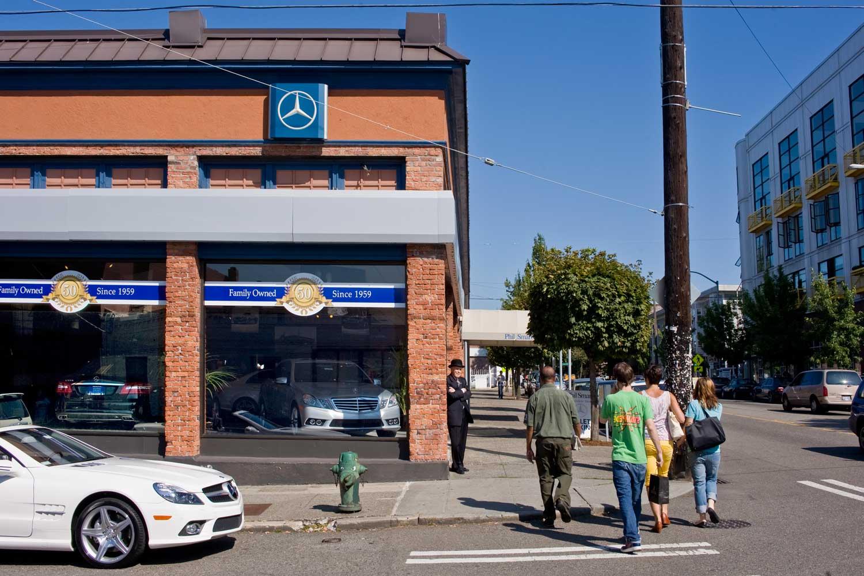 Seattle now then auto row dorpatsherrardlomont for Mercedes benz dealership belmont