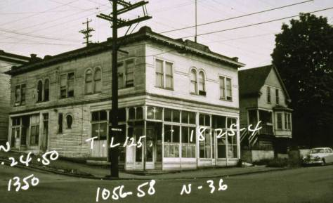 The same corner block in 1950, but without the hardward store.