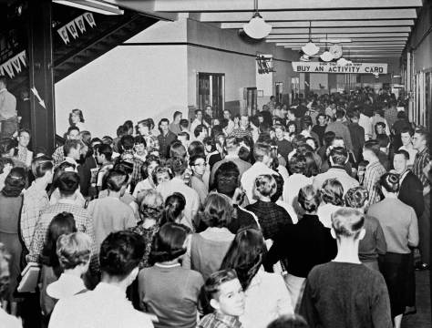 The crowded halls of Lincoln about the time - in the late 1950s - it was the largest high school in Seattle.