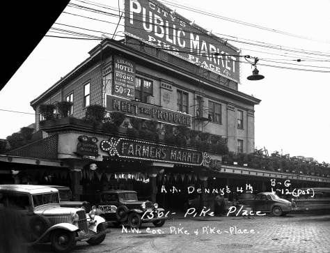 "The Leland Hotel at the Pike Place Public Market and the covered arcades beyond it, in a ""tax photo"" recorded in the late 1930s.  Courtesy, Muncipal Archive."