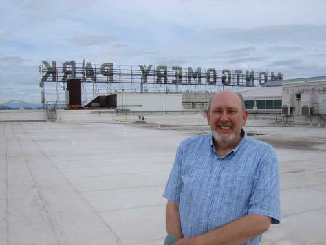 Richard Engemann atop old Montgomery Ward building (photo by Claire Sykes)