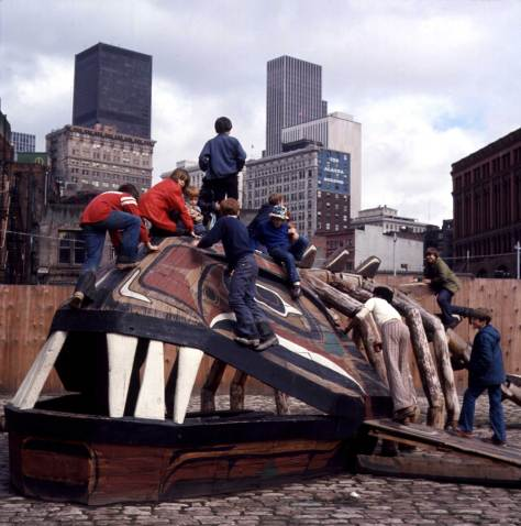 Kids on Archisculpture Whale in Occidental Park, March 29, 1974