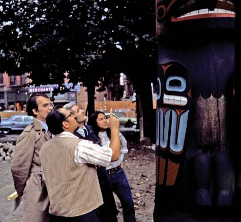 Rededication of Totem Pole, Aug. 21, 1972.  [In Pioneer Square - Can you name those politicians?]