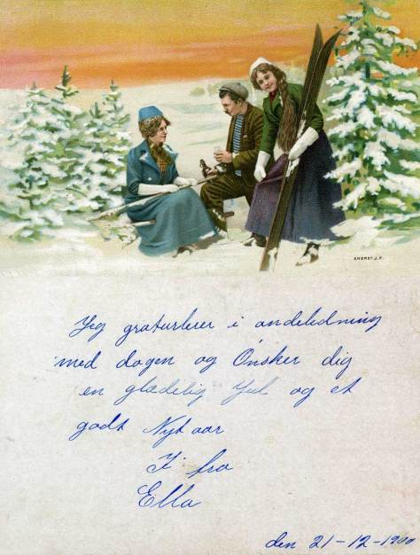 In this most fetching of cards the man in the middle is not fixing a ski but pouring some snaps. Everyone is evidently happy. Dated by hand 1900 it was given by Ella without a postmark of any kind.