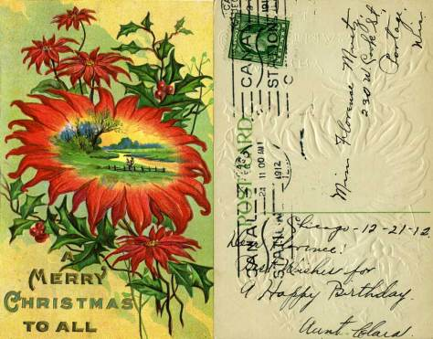 The postmarked date on his card out of Chicago is 1912.  One can also feel this card for much of its design is embossed.