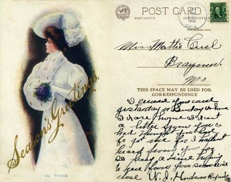 """This card left Oklahoma for Missouri in 1908.  We have taken the liberty to stack the text differenty than its arrangement for publishing so that we could enlarge the art, which is titled """"Violets."""""""