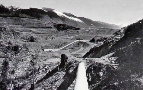 """The Tolt line and beyond it the dam and behind it the reservoir.  Following this short history Jean has inserted our """"then and now"""" from Washington Then and Now, which shows the Tolt reservoir when it was being cleared for filling, and Jean's repeat of it from 2005 (or was it 2006?)."""