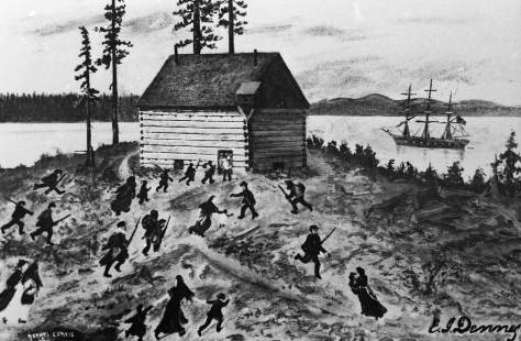 Settlers running to the blockhouse with the first rifle fire from the woods.   No one was hit during this scramble.
