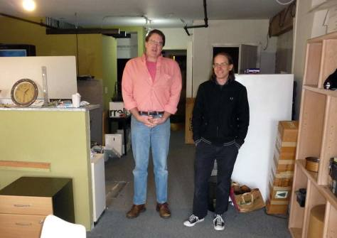Jean Sherrard and Steve Sampson pose on moving day in Steve's Belltown studio.