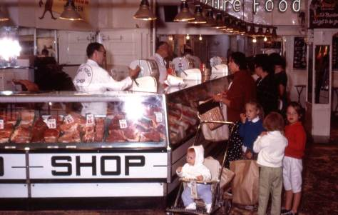 More meat at the Pike Place Market, but none of it horses who previously spent their happy lives running on the range.  This one is dated - 1963.  So some readers will remember this Pure Foods Shop.  The photographer was Bob Bradley.