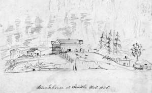 THEN:In late 1855 the citizens of Seattle with help from the crew of the Navy sloop-of-war Decatur built a blockhouse on the knoll that was then still at the waterfront foot of Cherry Street. The sloop's physician John Y. Taylor drew this earliest rendering of the log construction.  (Courtesy, Yale University, Beinecke Library)