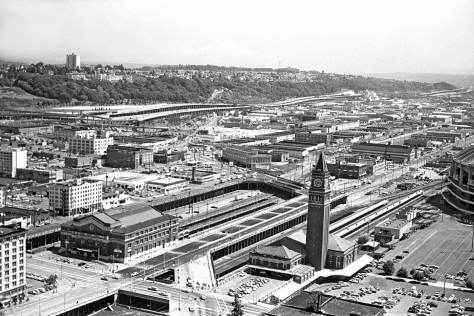 Looking south-southeast from the Smith Tower in 1982.