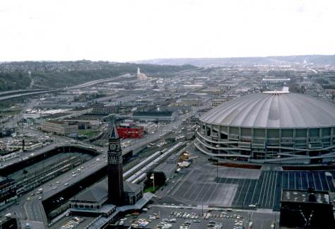 The nearly new Kingdome in 1976.  Another by Lawton Gowey.