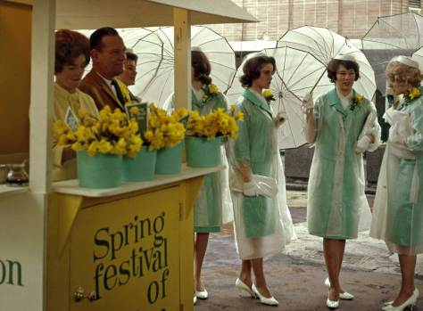 Frank Shaw recorded this scene from the Spring Festival of Fun, on March 14, 1964 and in the rain at Westlake Mall.  1964 is not so long ago.  Hopefully someone will help us identify the keepers of these dafodils and managers of this fun.