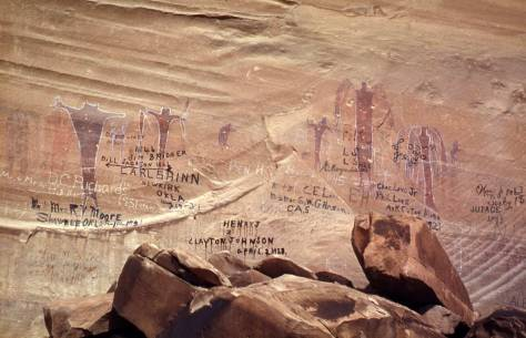 """How the West Was Won"" - our name for this rock art in Utah's Buckhorn Draw."